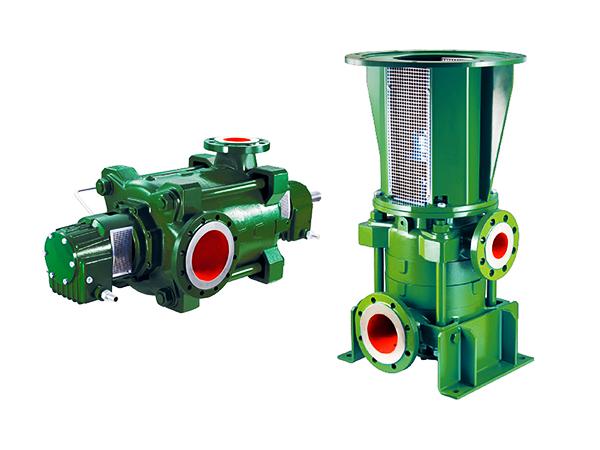 dettaglio su pompe centrifughe multistadio, orizzontali e verticali.